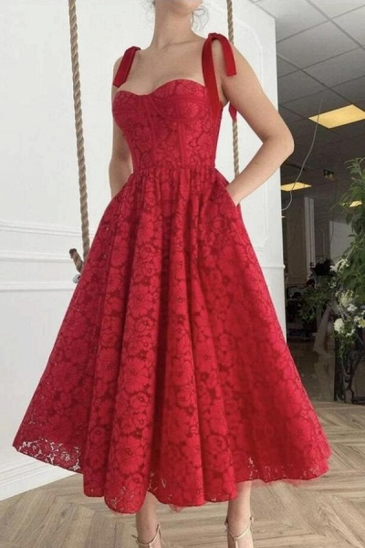 A-line Sweetheart Spaghetti Straps Lace Prom Dresses with Pockets