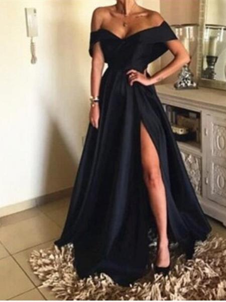 Elegant Long A-line Off-the-shoulder Satin Prom Dress with Slit