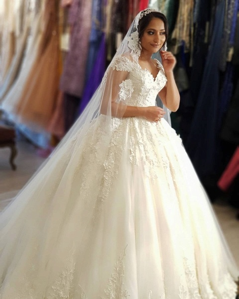 Beautiful Long Princess Off the Shoulder Lace Wedding Dresses_2