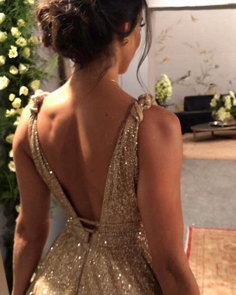 Modest A-Line V-neck Backless Spaghetti Straps Glitter Prom Dress_4