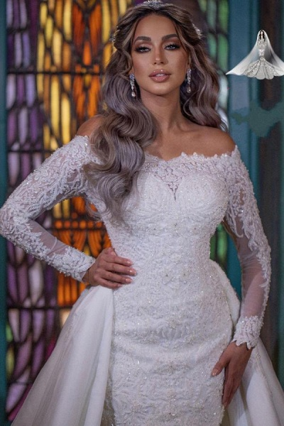 Long Mermaid Off-the-Shoulder Detachable Wedding Dresses With Sleeves_4