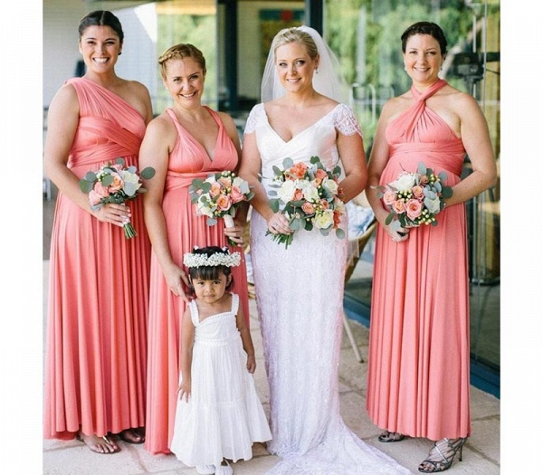 Long A-line Multiway Infinity Peach Coral Bridesmaid Dress