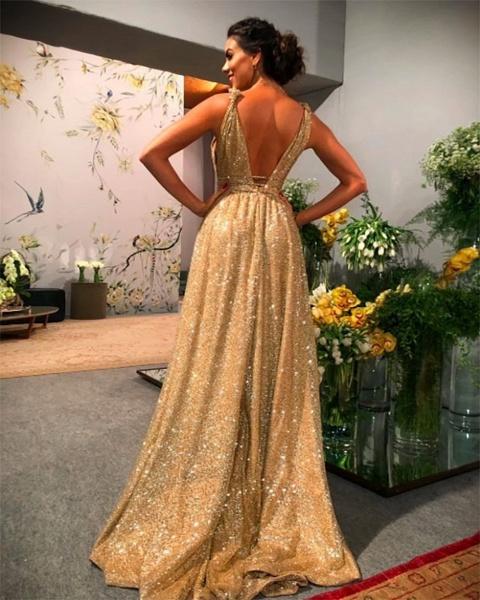 Modest A-Line V-neck Backless Spaghetti Straps Glitter Prom Dress_3