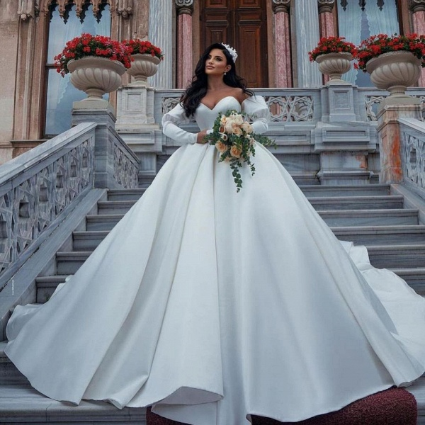 Amazing Princess Satin Sweetheart Wedding Dresses_2
