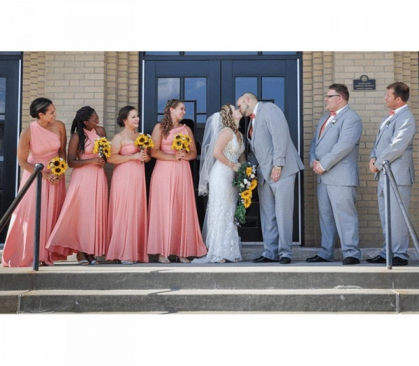 Long A-line Multiway Infinity Peach Coral Bridesmaid Dress_5