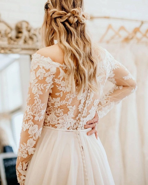 Simple Long A-Line Off-the-Shoulder Tulle Long Sleeve Wedding Dress With Lace_2