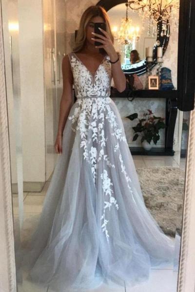 Long A-line V-neck Tulle Floor-length Prom Dress_1