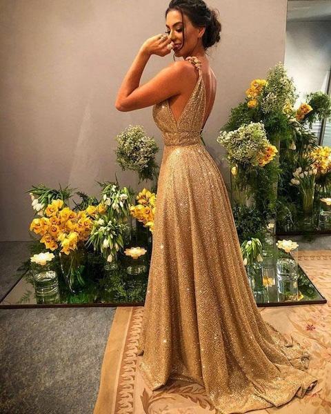 Modest A-Line V-neck Backless Spaghetti Straps Glitter Prom Dress_2