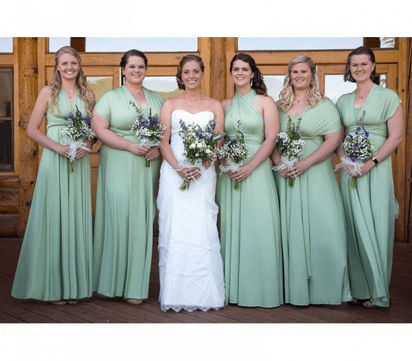 Long A-line Multiway Infinity Sage Green Bridesmaid Dress_2