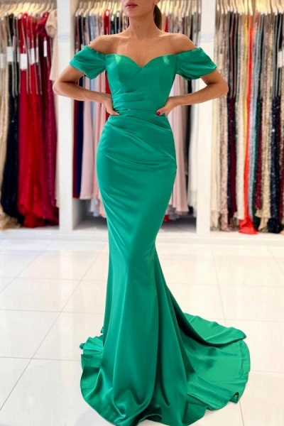 Stunning Long Mermaid Off-the-Shoulder Satin Prom Dresses with Sleeves
