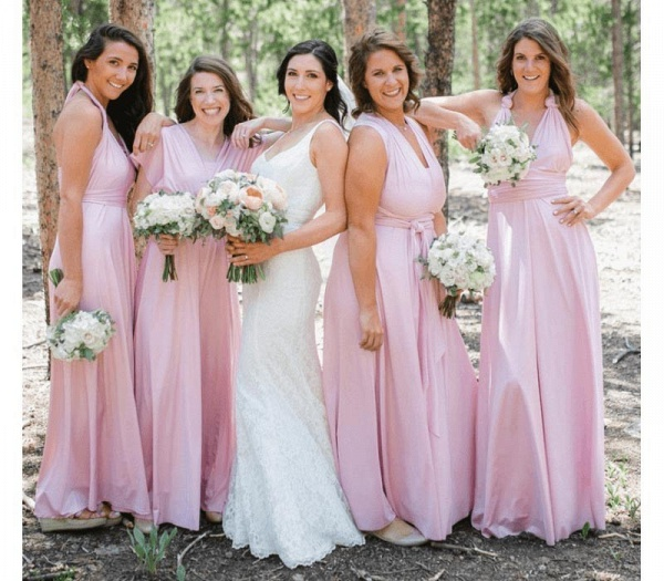 Long A-line Multiway Infinity Blushing Pink Bridesmaid Dress