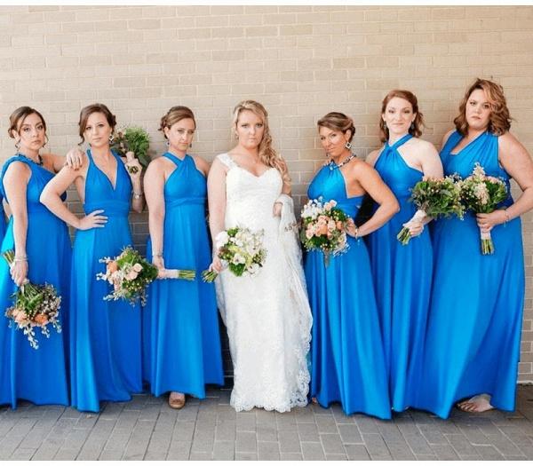 Long A-line Multiway Infinity Lake Blue Bridesmaid Dress