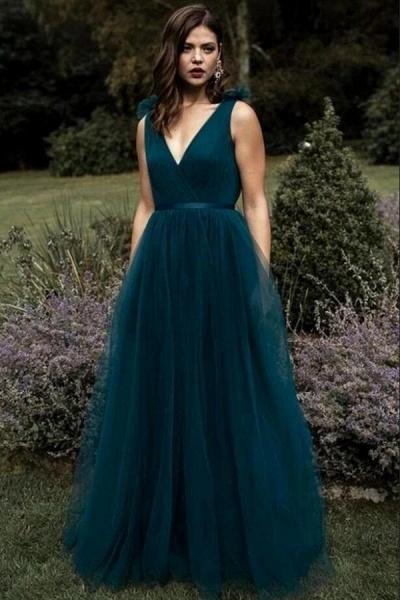 Elegant Long A-line V-neck Tulle Floor-length Prom Dress