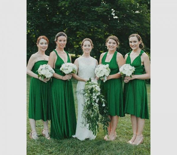 Long A-line Multiway Infinity Dark Green Bridesmaid Dress_2