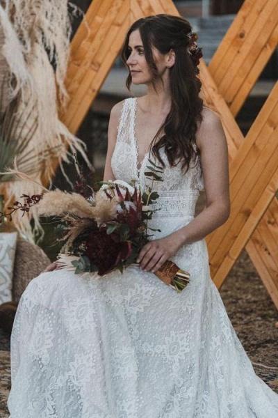 Simple Long A-Line V-neck Lace Backless Wedding Dresses