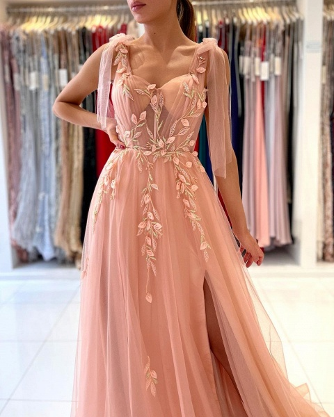 Long A-line Spaghetti Straps Tulle Prom Dress with Slit_3