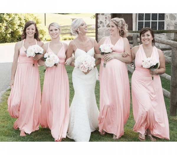 Long A-line Multiway Infinity Pearl Pink Bridesmaid Dress