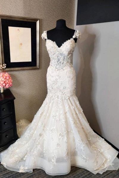 Luxury Mermaid Sweetheart Backless Lace Wedding Dress