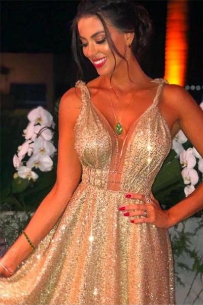 Modest A-Line V-neck Backless Spaghetti Straps Glitter Prom Dress_1
