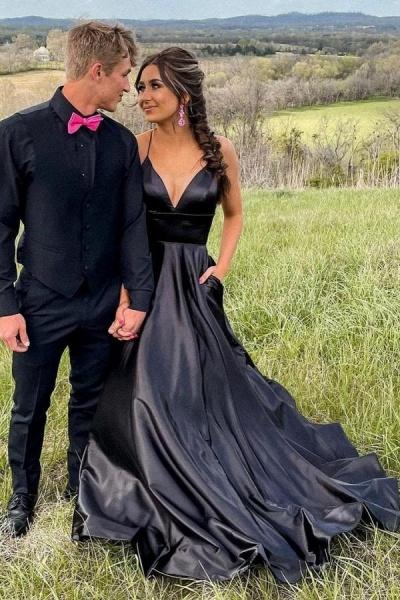 Elegant Long A-line V-neck Prom Dresses with Pockets_1