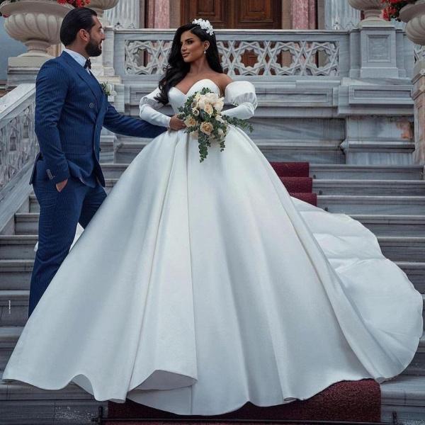 Amazing Princess Satin Sweetheart Wedding Dresses_4