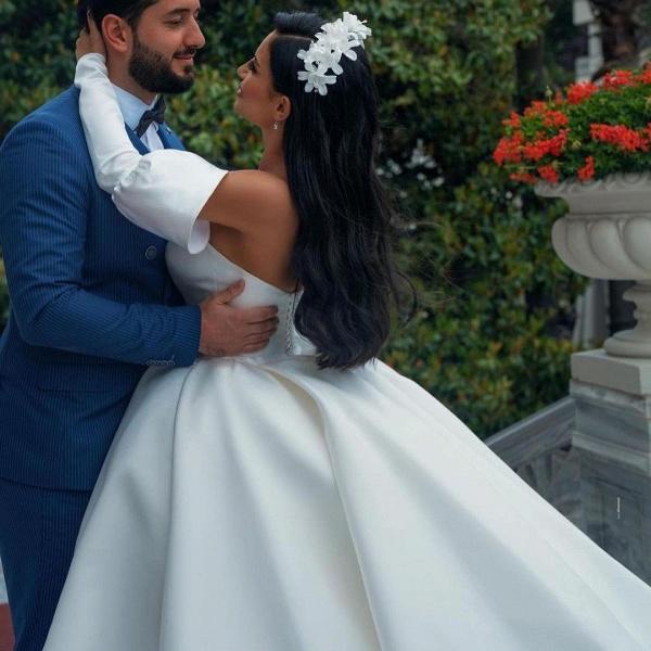 Amazing Princess Satin Sweetheart Wedding Dresses_3