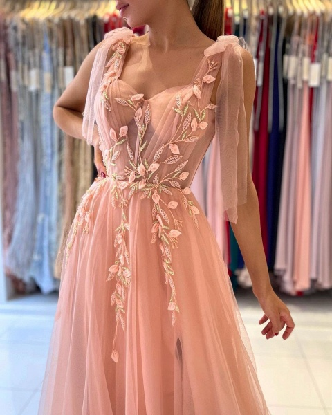 Long A-line Spaghetti Straps Tulle Prom Dress with Slit_4