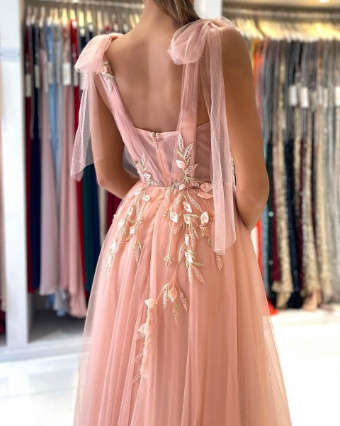Long A-line Spaghetti Straps Tulle Prom Dress with Slit_5