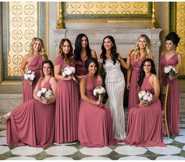 Long A-line Multiway Infinity Dusty Pink Bridesmaid Dress