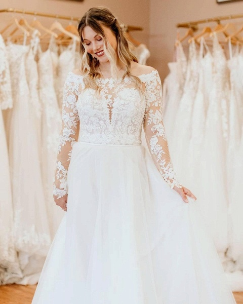 Simple Long A-Line Off-the-Shoulder Tulle Long Sleeve Wedding Dress With Lace_3