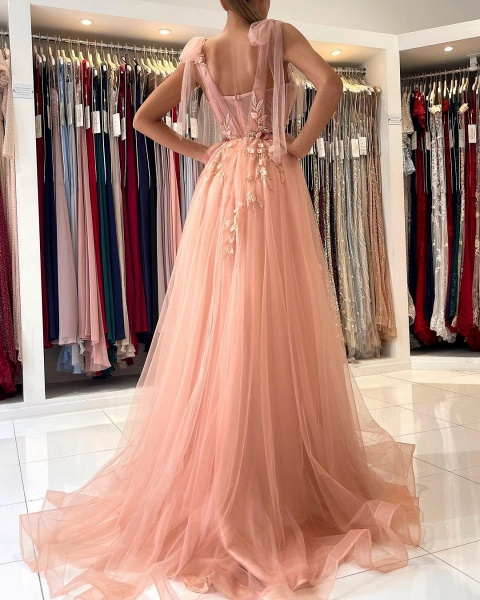 Long A-line Spaghetti Straps Tulle Prom Dress with Slit_7