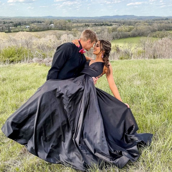 Elegant Long A-line V-neck Prom Dresses with Pockets_2