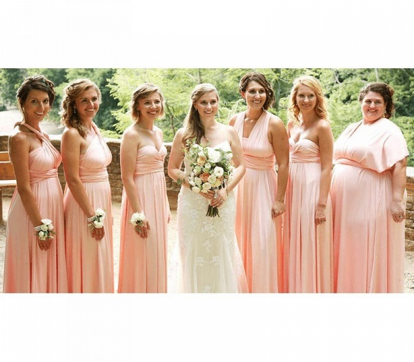 Long A-line Multiway Infinity Pearl Pink Bridesmaid Dress_2