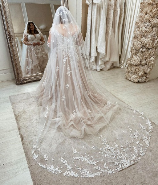 Long Plus Size A-Line Sweetheart Wedding Dresses with Lace Sleeves_2