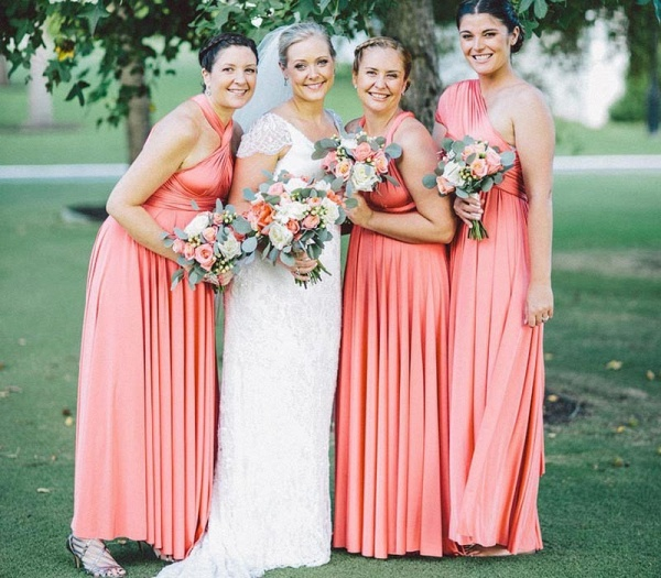 Long A-line Multiway Infinity Peach Coral Bridesmaid Dress_2