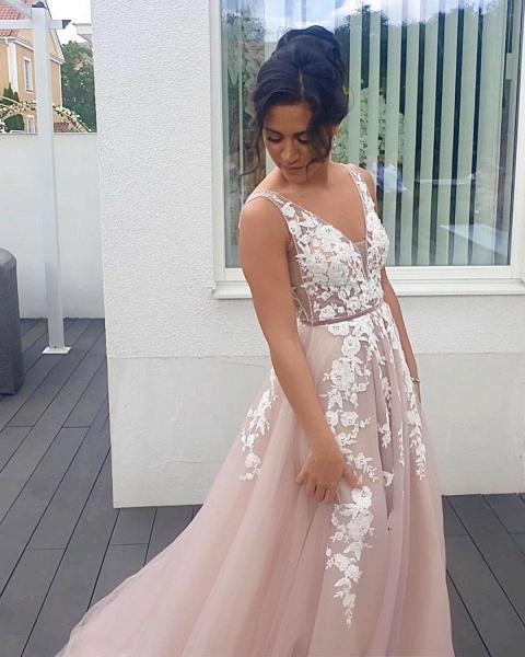 Long A-line V-neck Tulle Floor-length Prom Dress_2