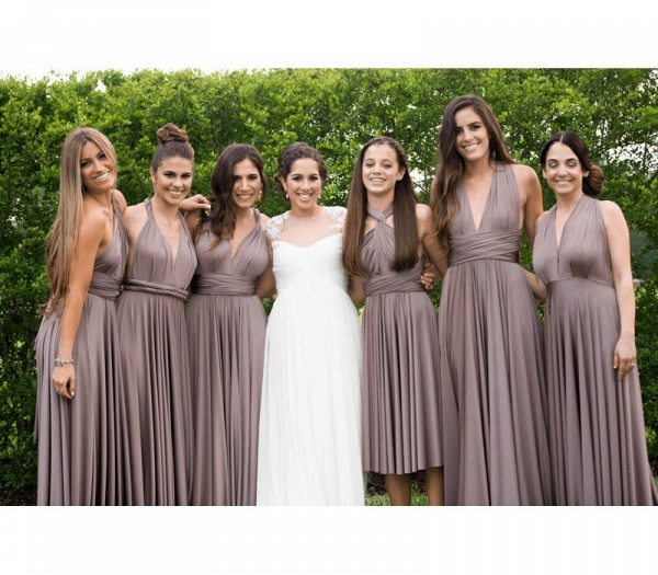 Cheap A-line Multiway Infinity Taupe Bridesmaid Dress