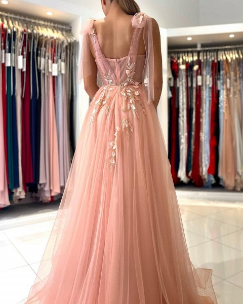 Long A-line Spaghetti Straps Tulle Prom Dress with Slit_6