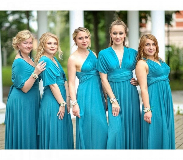 Long A-line Multiway Infinity Lake Blue Bridesmaid Dress_2