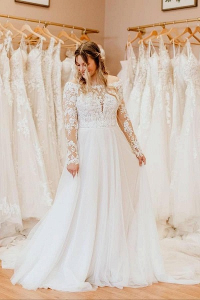 Simple Long A-Line Off-the-Shoulder Tulle Long Sleeve Wedding Dress With Lace
