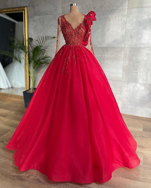 Beautiful Princess V-neck Long Sleeves Tulle Prom Dress_2