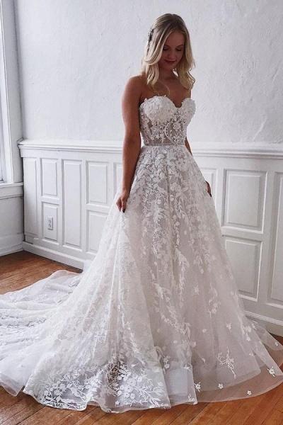 Gorgeous Long A-line Sweetheart Lace Floor length Wedding Dress