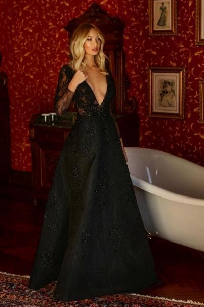 Elegant A-line V-neck Lace Long Sleeves Floor-length Prom Dress