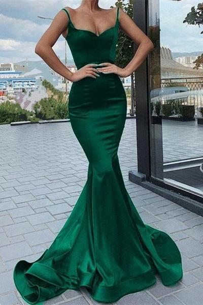 Elegant Long Mermaid Satin Spaghetti Straps Sweetheart Prom Dress
