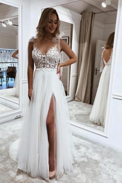 Simple Long A-line V-neck Tulle Wedding Dress with Slit