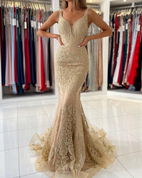 Long Mermaid Sweetheart Prom Dress with Floral Lace Appliques_4