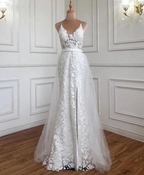 Elegant Long A-line V-neck Lace Open Back Prom Dress with Slit_4