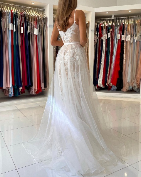 Beautiful Long Mermaid Sweetheart Spaghetti Straps Lace Prom Dress_2