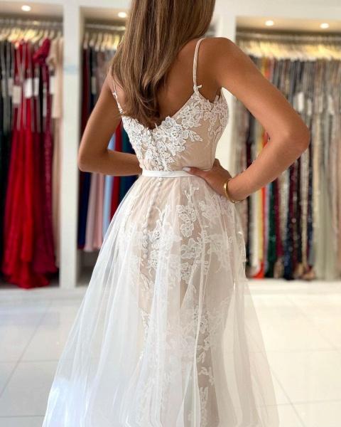 Beautiful Long Mermaid Sweetheart Spaghetti Straps Lace Prom Dress_6