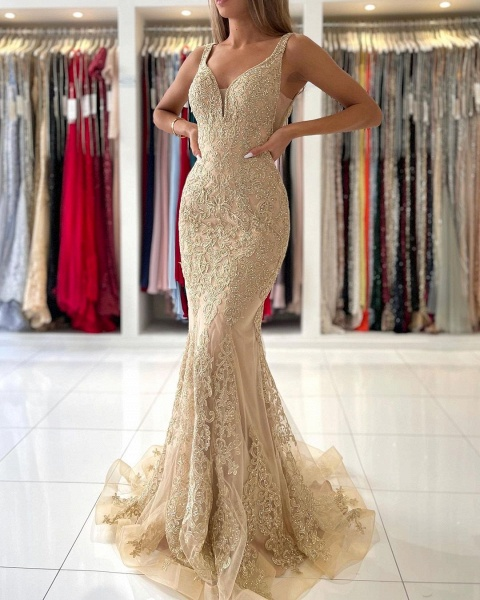 Long Mermaid Sweetheart Prom Dress with Floral Lace Appliques_2